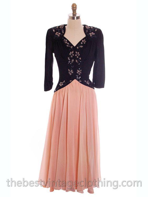 Vintage 1940s Evening Dress Pink
