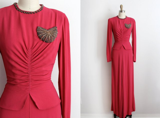 vintage 1940s gown // 40s pink crepe beaded evening gown