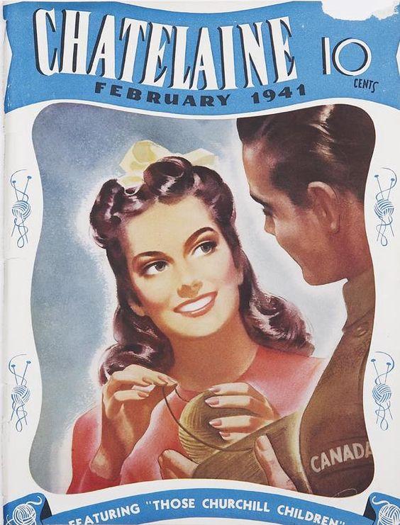 Февраль 1941 Винтаж Chateline Обложка Журнала