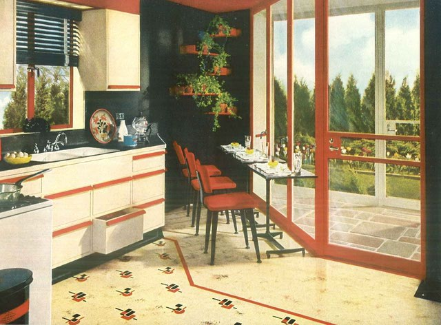 1940 vintage kitchen decor linolem flooring