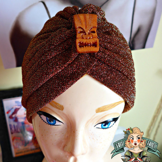 Tiki Time lurex turban // Vintage style turban