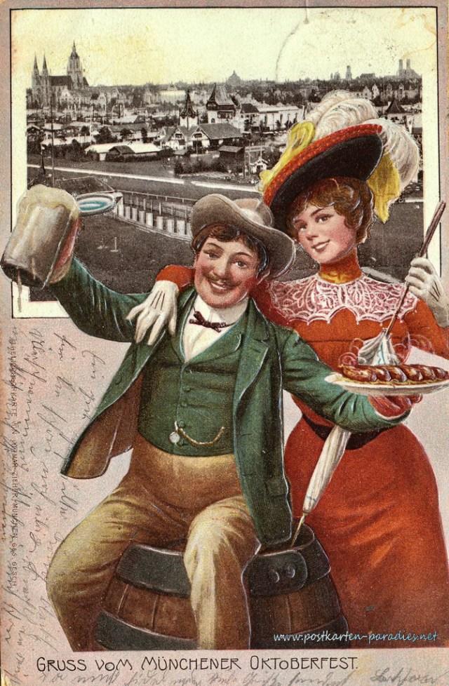 Postkarte München Oktoberfest Paar 1905