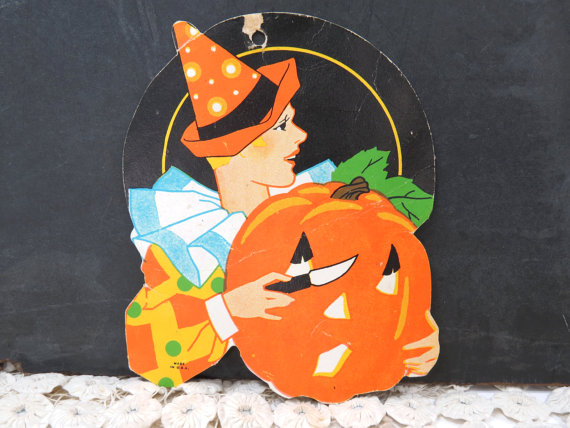 Art Deco Halloween Flapper Die Cut Vintage Halloween Decor
