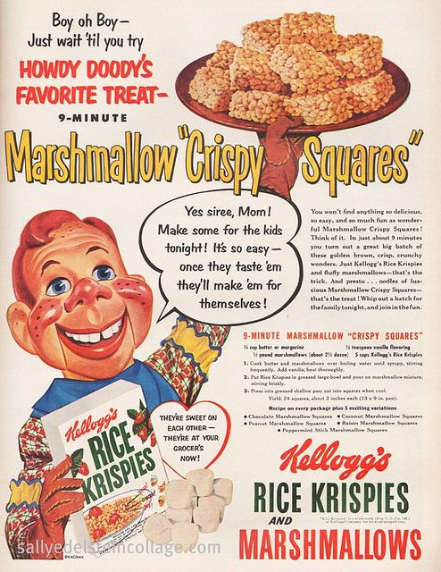 950s ad for Rice Krispies cereal featuring Howdy Doody.