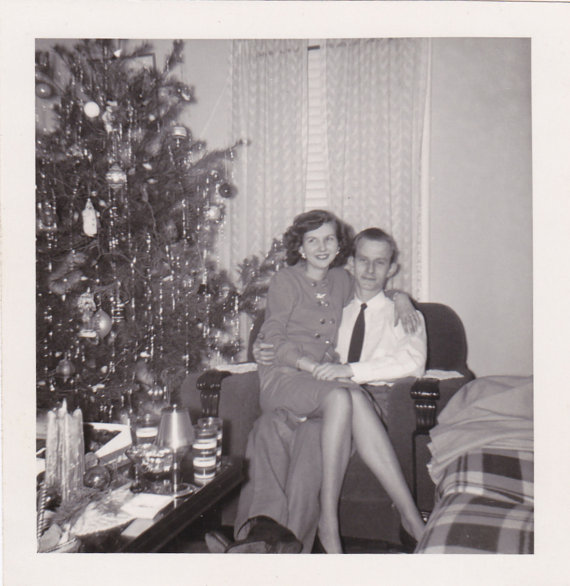 1940s couple at christmas vintage image