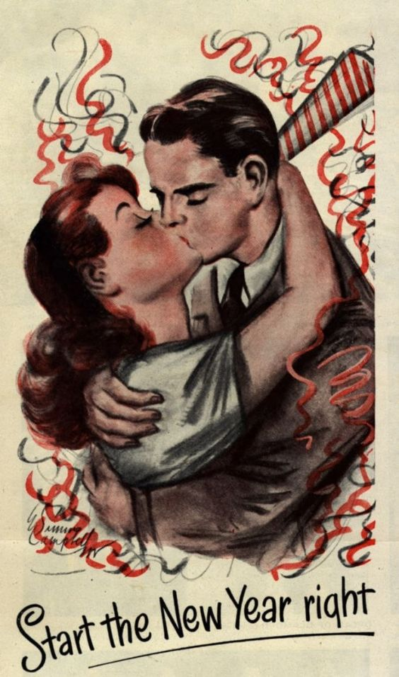 1940s new years vintage illustration couple kissing   The Vintage Inn 1940s new years vintage illustration couple kissing