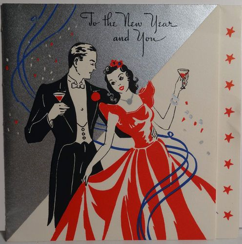 1940s vintage new years eve card