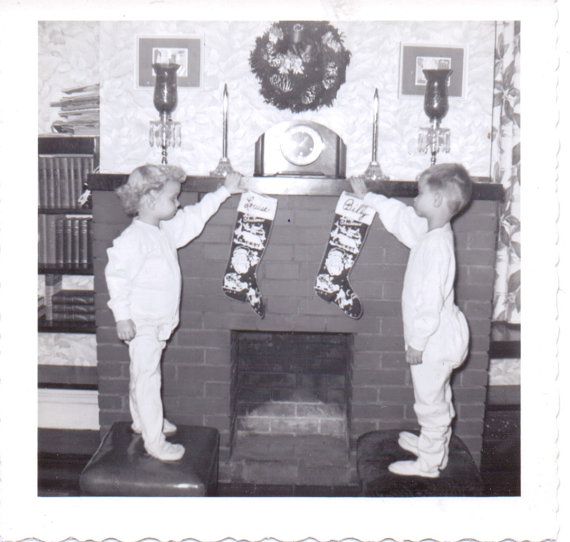 vintage image of kids hanging stockings