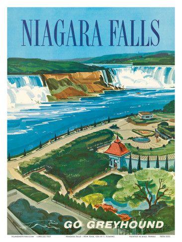 Vintage Greyhound Niagara Falls Poster