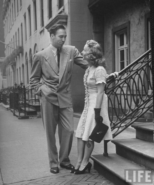 1940s vintage image of man and woman talking life magazine