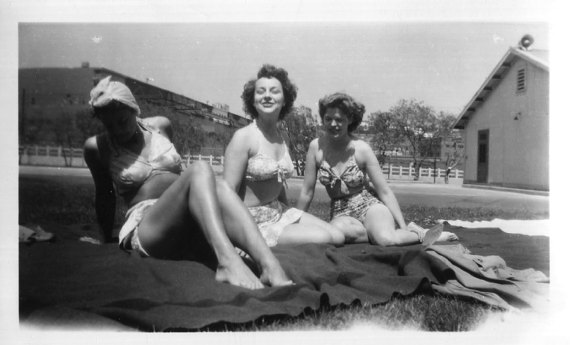1940s vintage image of women sunbathing in swimsuits