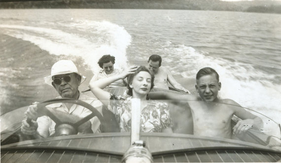 1950s vintage boat ride family photo