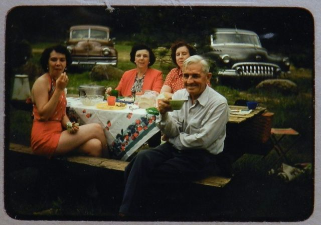 1950's vintage colour image of family enjoying a picnic