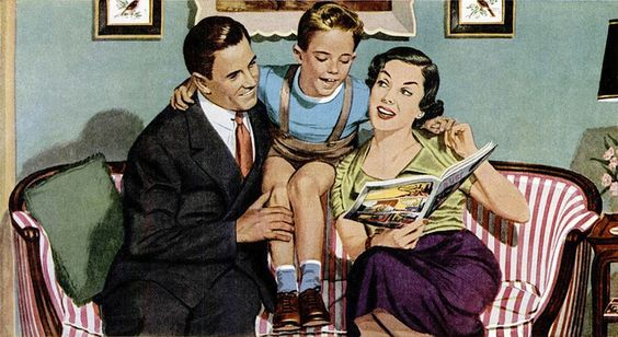 1950's vintage illustration of family time