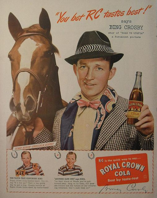 Bing Crosby RC Cola vintage 1940s ad