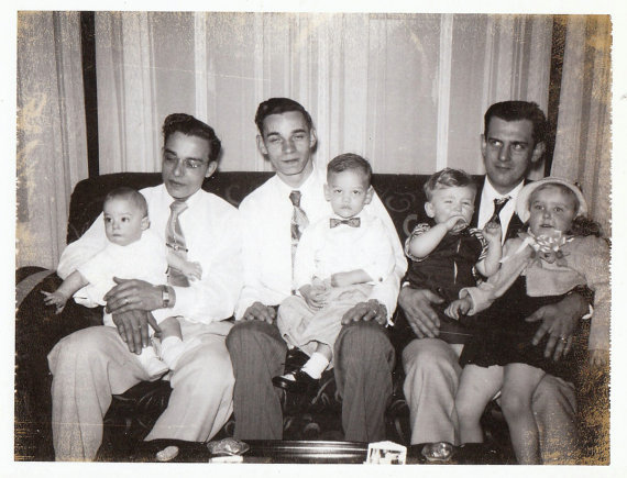 Original Vintage Polaroid Photograph Snapshot Men Sitting on Couch Holding Baby Boys & Girl Toddlers 1960s