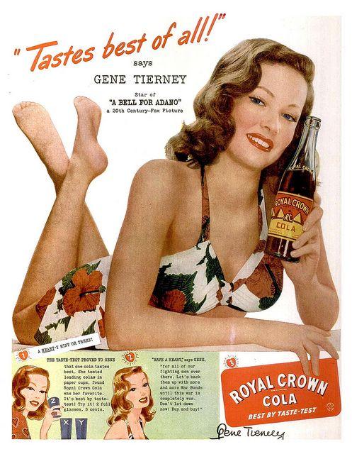 RC Cola GENE TIERNEY vintage ad 1945