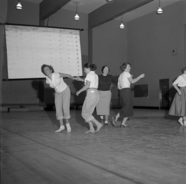 1950's vintage image of women dancing at a social dance canadian archives