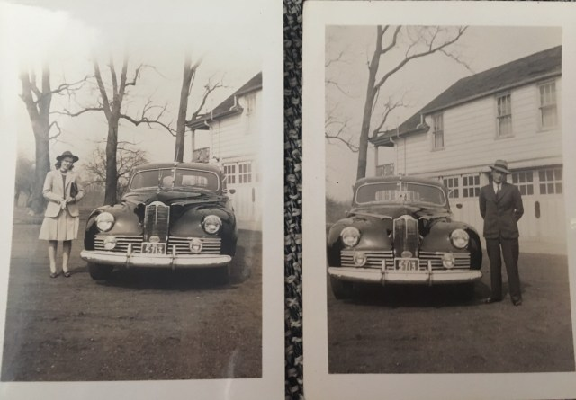 1940's vintage image of a couple with their car