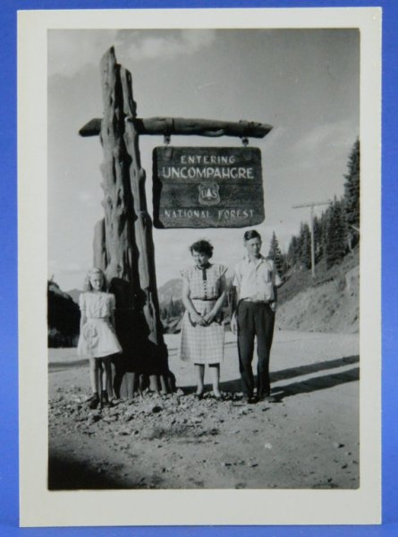 Uncompahgre National Forest 1948 Colorado Vacation B & W Photo Snapshot