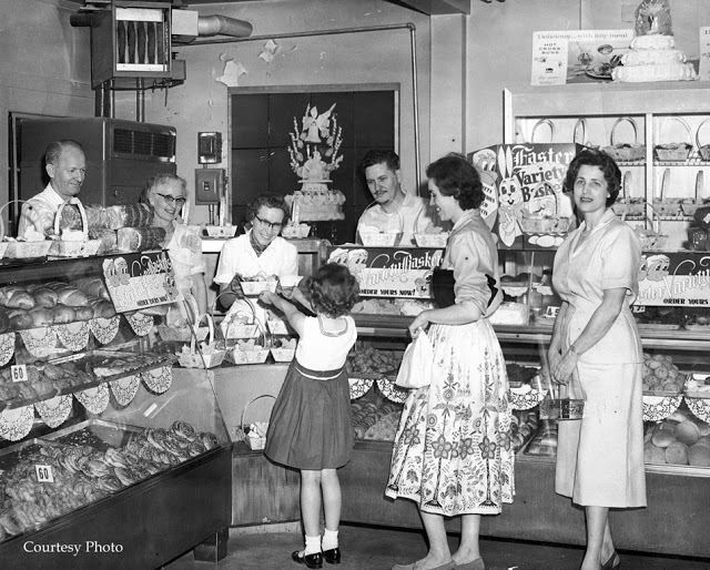1950s bakery selling easter goods vintage image