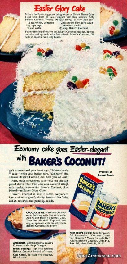 1950s vintage cake ad receipe