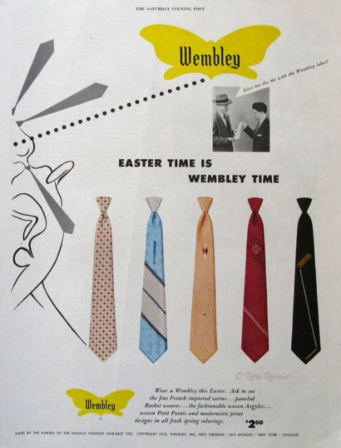 1954 Wembley Ties Ad - Easter Time is Wembley Time - 1950s Spring Neckties for Men