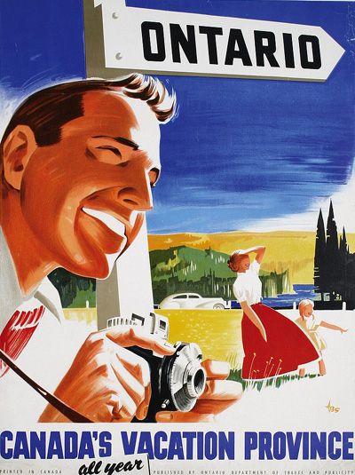 Ontario 1950s travel poster vintage
