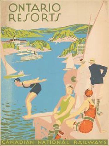 Ontario Canada Resorts 1920s vintage poster