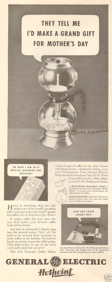 1935 General Electric HOTPOINT Glass Coffee Maker POT Mother's Day GIFT Ad