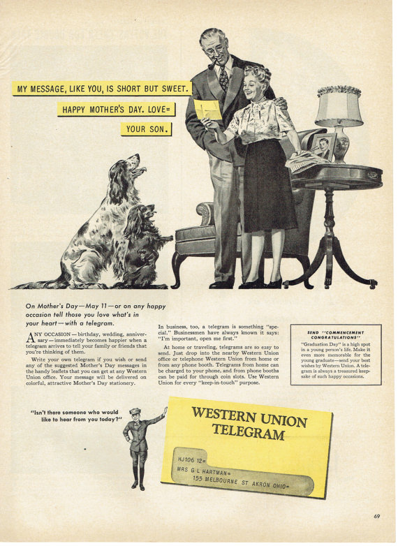 1947 Western Union Telegram Mother's Day Advertisement