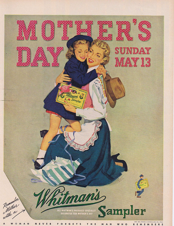 1951 Whitman's Candy Sampler Mother's Day Original Vintage Advertisement