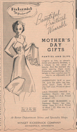 Original 1941 Kickernick Ad, Matted Ad for Mother's Day, underwear ad