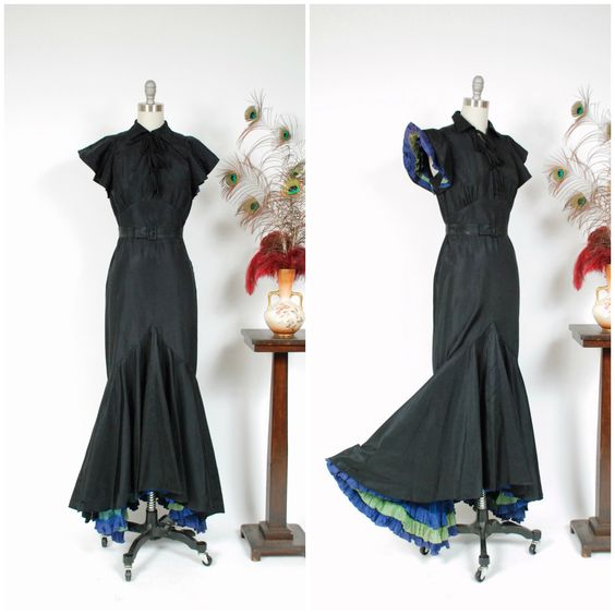 Vintage 1930s Dress - Rare Curve Hugging Late 1930s Peggy Hunt Jean Carol Label Evening Gown with Ruffled Accents