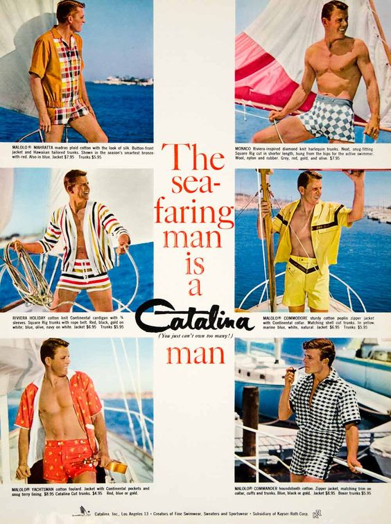 1960s mens Catalina swimsuit vintage ad