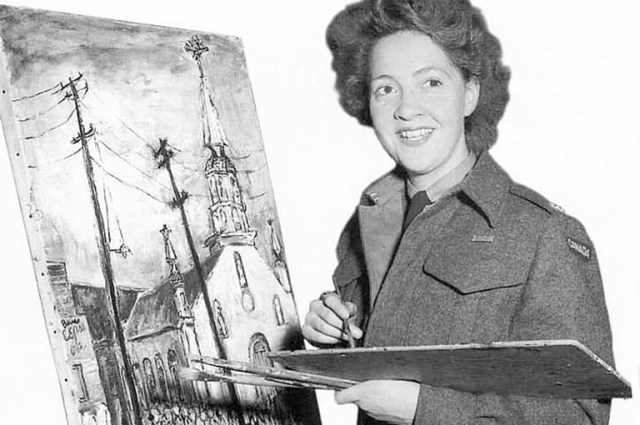 Lieutenant Molly Lamb painting, June 1945 Canadian History
