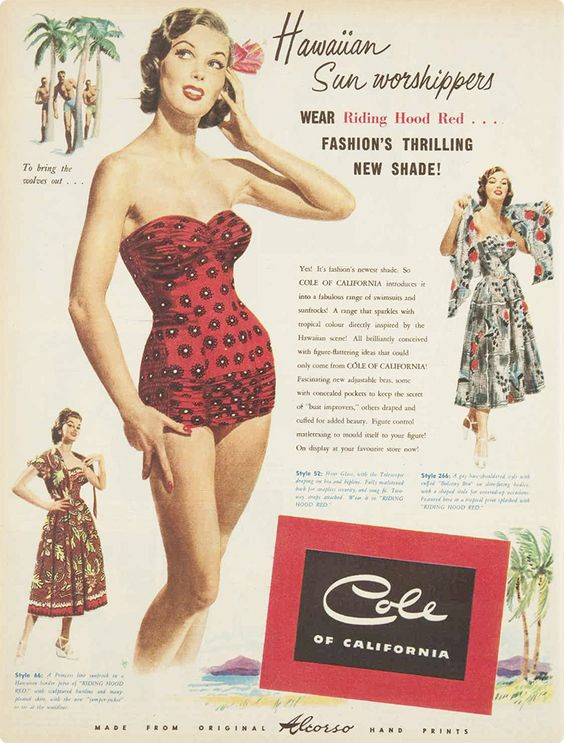 cole of california 1950s vintage swimsuit ad hawaii