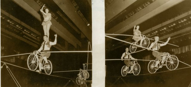Bicycle high wire act at a Bill Lynch Show.