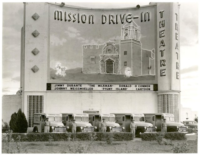 Historic picture of the Marquee Mural on the Mission Drive-In