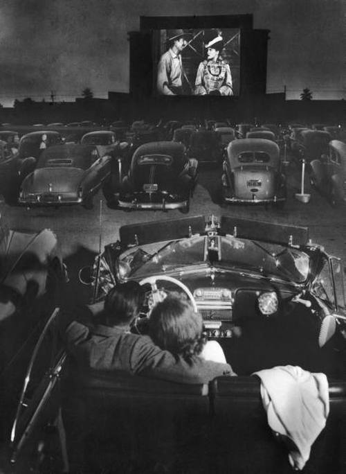 drive in movie theatre 1949 LA vintage image