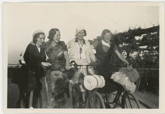vintage photo 1929 Young Women on a bicycle