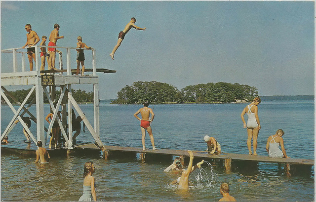 1950s Great View of State Park Diving Platform and Kids Swimming at Hamlin Lake