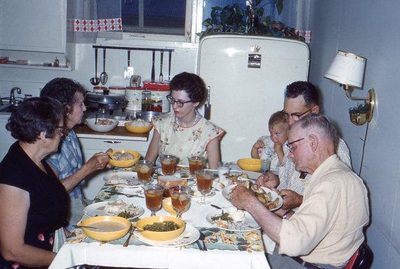 1950s family dinner vintage photo