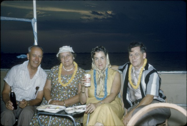 1958 Boat Cruise with friends Vintage Image