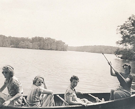 Vintage Photograph of Women Friends Boating In Canoe