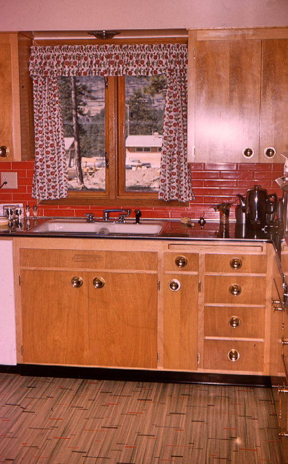 vintage photo of a mid century 1950s kitchen