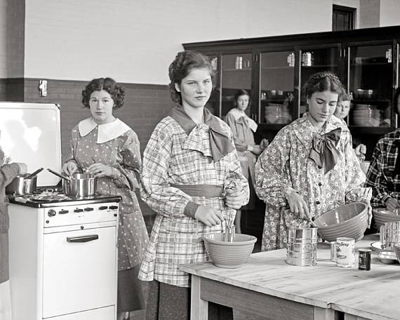 Cooking Class, 1935. Vintage Photo