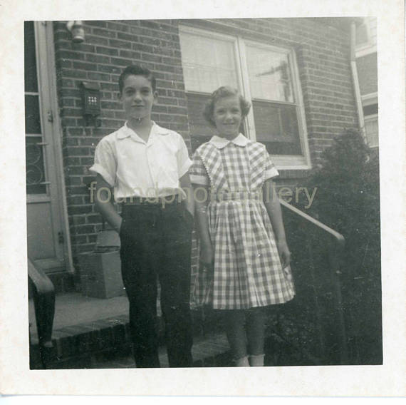Vintage Photo, Black & White Photo, Clean Cut School Children, Back to School 1950s
