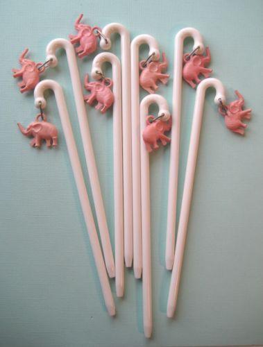 vintage pink elephant cocktail stirrers