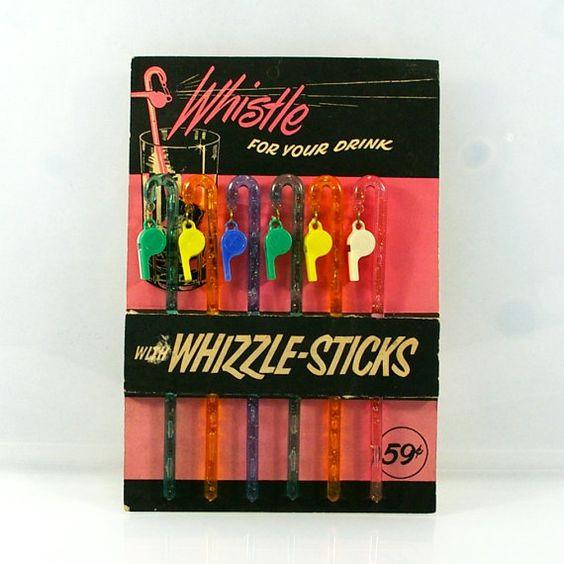 whistle cocktail swizzle sticks vintage